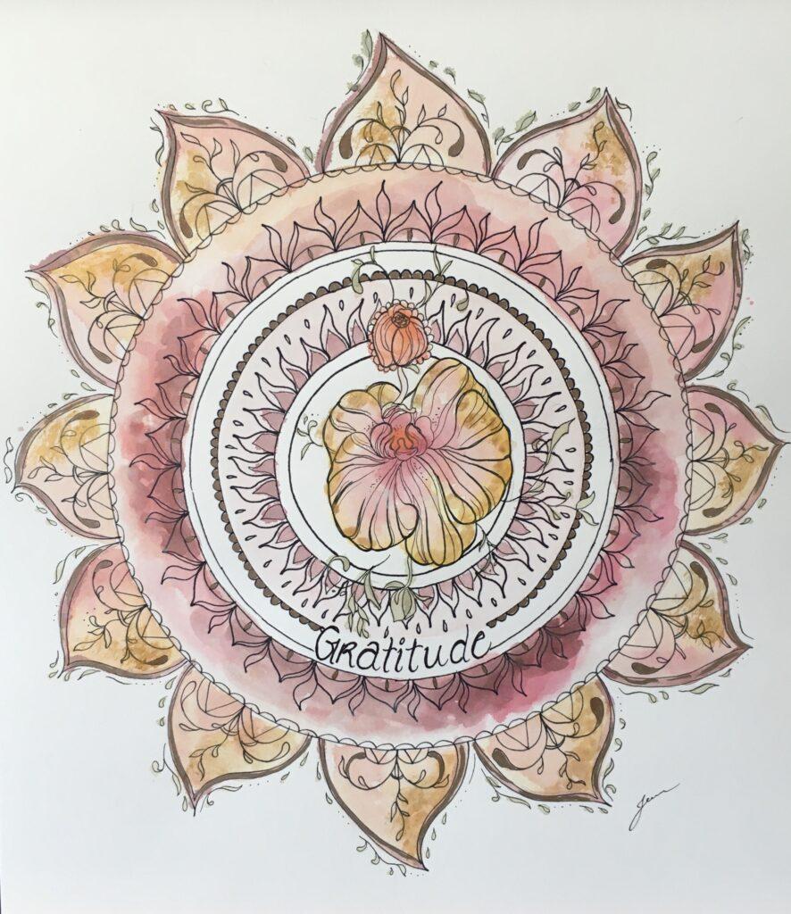 Aquarelle de soleil mandala jaune et rouge avec une orchidée au centre et le mot gratitude