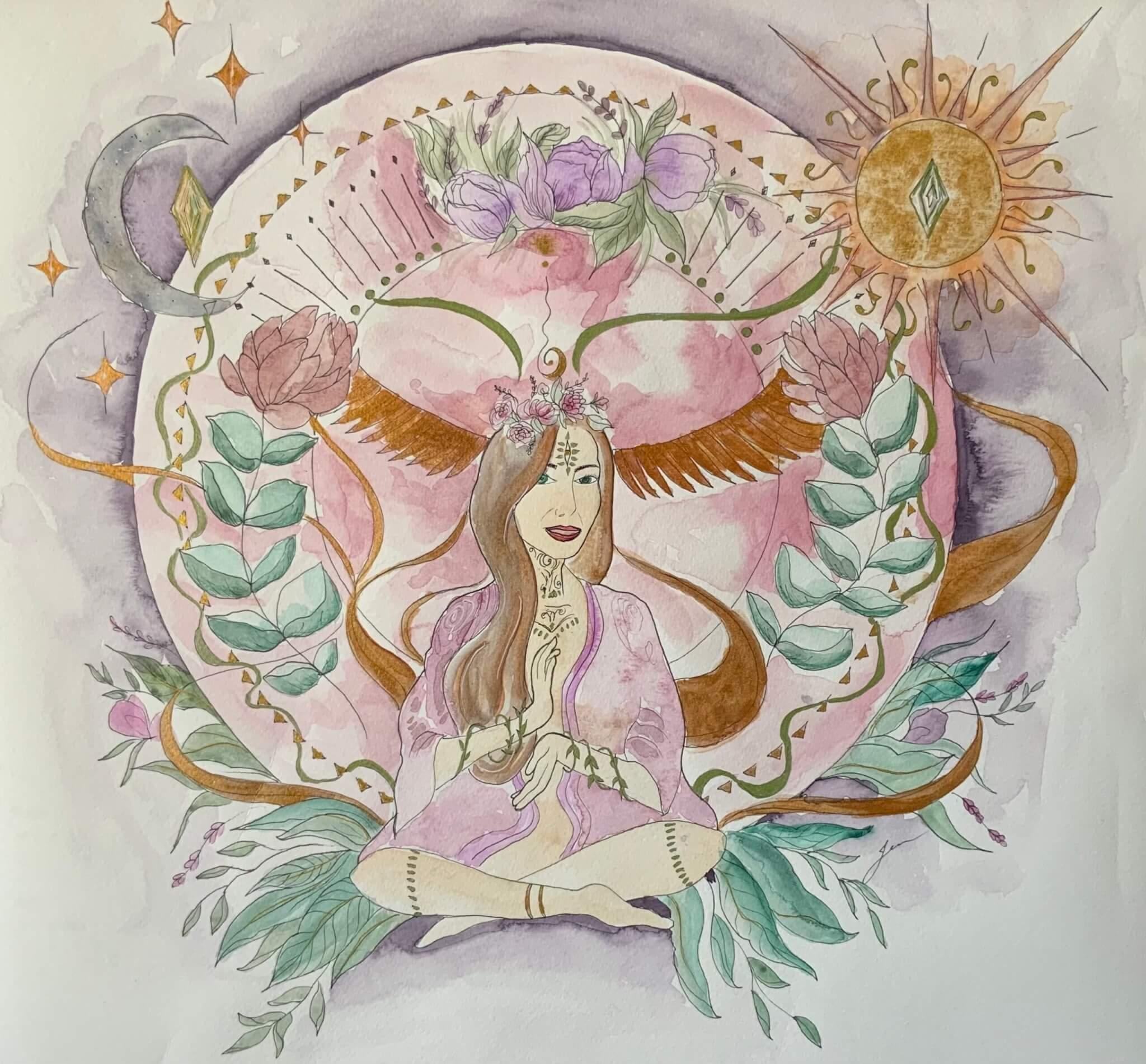 Oeuvre aquarelle d'une femme bohème assise les mains au coeur avec lune et soleil et plusieurs éléments décoratifs