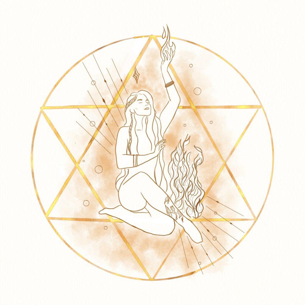 Illustration de femme représentant le symbole du feu orange