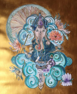 Aquarelle Dieu Ganesha spirale bleu