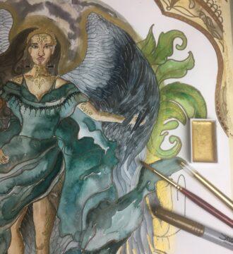 Aquarelle de la Déesse Isis avec de grandes ailes foncées et des pinceaux