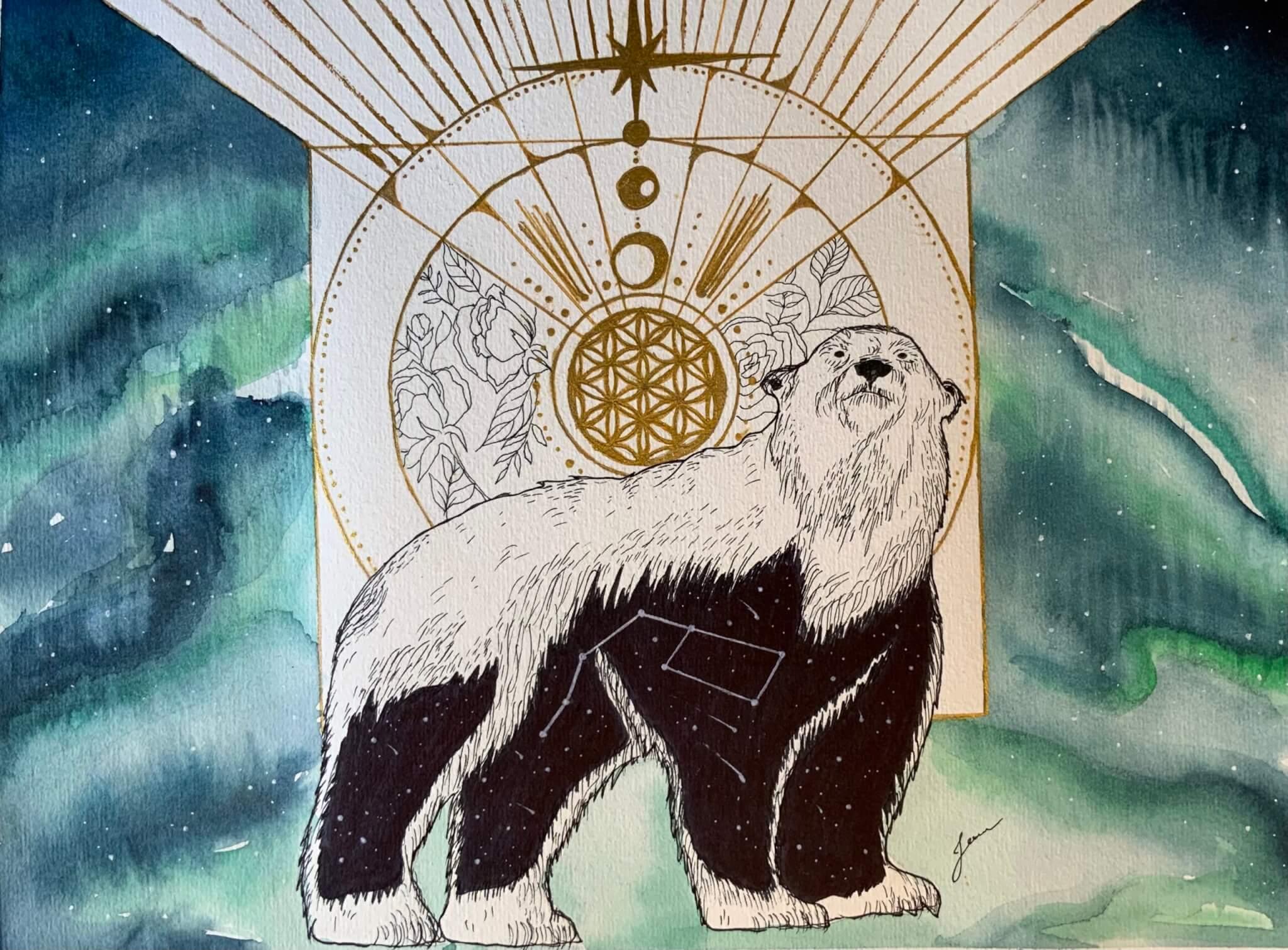 Oeuvre aquarelle d'un ours polaire avec fleur de vie et aurore boréale