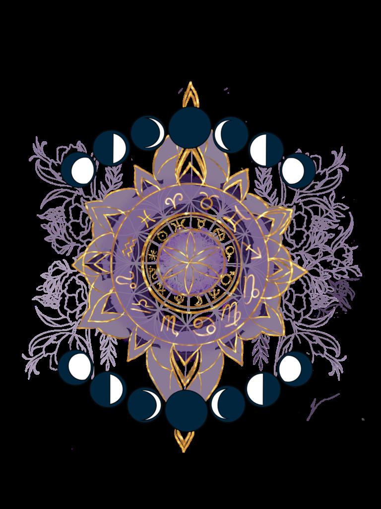 illustration astrologique fleur et cycle de la lune