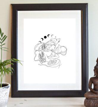 Mère louve allaitant illustration